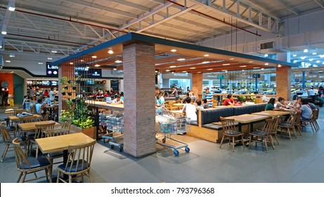QUEZON CITY, PHILIPPINES-DEC. 29: Landers Superstore food hall on December 29, 2017 in Quezon City, Philippines.  Landers Superstore offers a wide variety of products that are both imported and local.