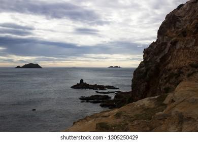 Qui Nhon Vietnam lanscape ocean horizon boulder mountain cloudscape