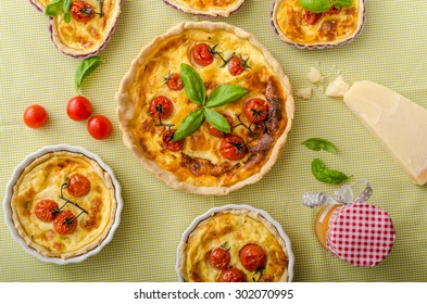 Quiche with cheese and cherry tomatoes on st Valentine for my love