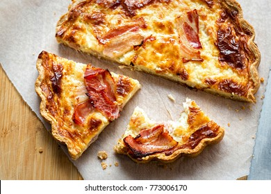 Quiche with maple cured bacon and cheddar