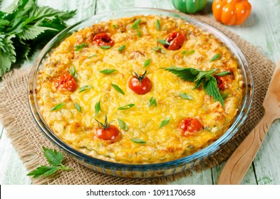 Quiche pie with cottage cheese and nettles. Homemade backing