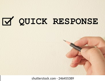 quick response check mark on wall background