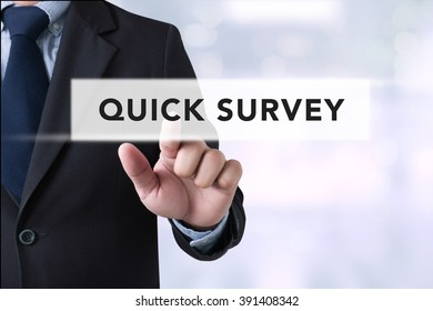 Quick Survey, Businessman touching a touch screen on blurred city background