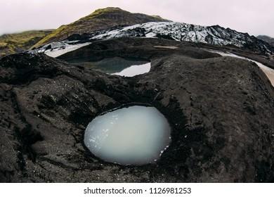 Quicksand pools next to Solheimajokull Glacier in Iceland