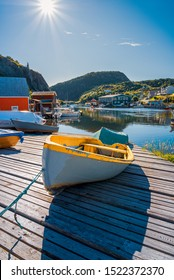 Quidi Vidi, Newfoundland / Canada - September 15, 2019: a small yellow boat sits on the launch on a beautiful sunny day at the Quidi Vidi fishing harbour in Newfoundland, Canada.