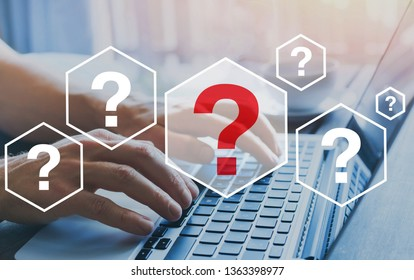 Quiestions online, interrogation marks what where when how and why, FAQ, search answer information on internet