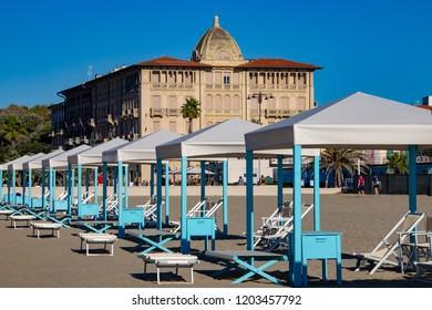 A Quiet Afternoon on the Beach in Viareggio, Italy