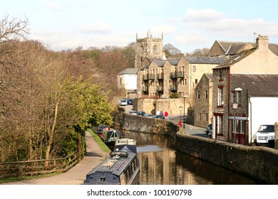 Quiet backwater of the Leeds Liverpool canal at Skipton in Yorkshire.