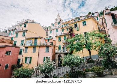 Quiet and calm town and colorful houses of Manarola Cinque Terre in Italy