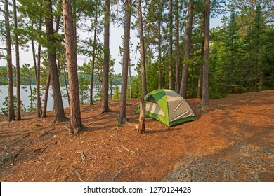 Quiet Campsite on Bell Lake  in the  North Woods of Quetico Provincial Park in Ontario