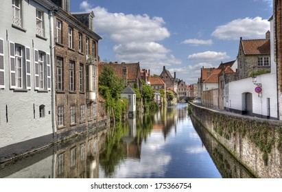 Quiet canal in the old part of Bruges, Belgium