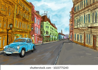 A quiet and cozy European street in spring bright colors