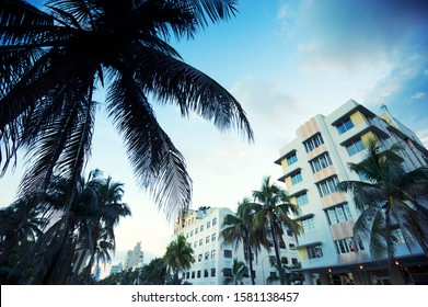 Quiet dusk view of the Art Deco skyline on Ocean Drive in South Beach, Miami, Florida