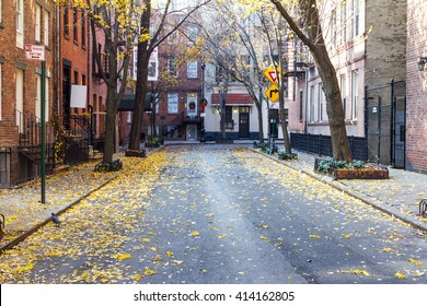Quiet Empty Commerce Street in the Historic Greenwich Village Neighborhood of Manhattan, New York City