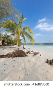 Quiet empty paradise beach in Koh Rong island near Sihanoukville Cambodia. South East Asia