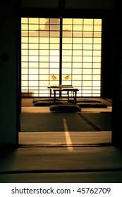 Quiet interior scene in a Japanese temple