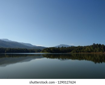 Quiet lake with bluesky at Huay Tung Tao in Chiangmai, thailand