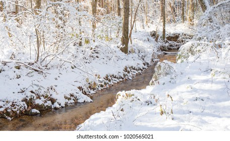A quiet little creek meandering through the woods on a snowy winter day.