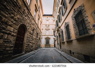 Quiet medieval walkway and alleyway in downtown Florence Italy