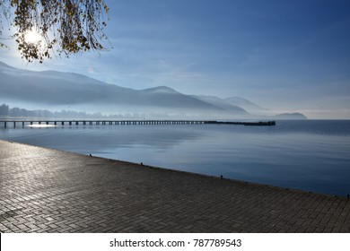 Quiet morning by Ohrid Lake, Ohrid town promenade, Macedonia