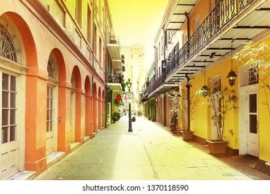 A quiet pedestrian street in New Orleans French Quarter