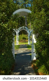 A quiet place to get away is found in this secluded garden and bench.  Archway leads to this secret place.