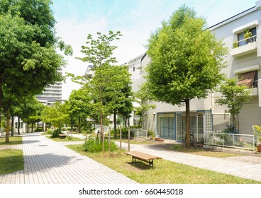 Quiet residential area in suburb of Tokyo, Japan