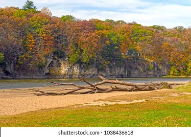 Quiet River Bluff on the Cedar River in the Fall in Palisades-Kepler State Park in Iowa