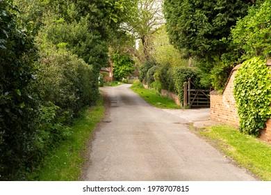 Quiet rural village lane scene