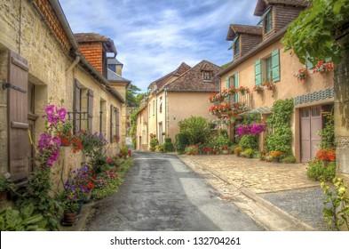 Quiet Street in Hautefort, Dordogne