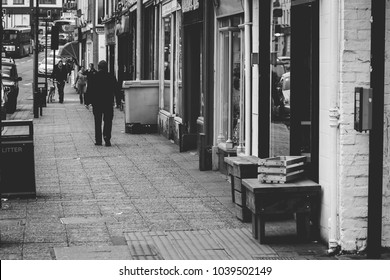 Quiet Street, Street Photography at Taunton, Somerset, Black and White High Contrast Shallow Depth of Field