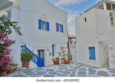Quiet street in a village on a greek island in the Cyclades