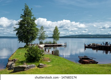 Quiet summer morning at Lake Siljan in the Swedish folklore district Dalecarlia. The lake is the largest impact crater in Europe caused by a meteorite more than 300 million years ago.