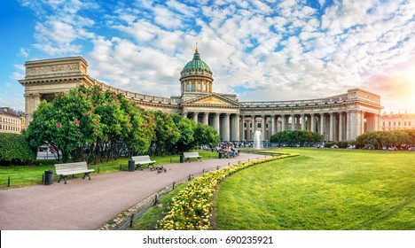 A quiet summer sunny evening at the Kazan Cathedral in St. Petersburg and lilac bushes