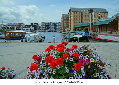 A quiet summers day in Gloucester Docks, Gloucestershire, UK