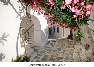 Quiet traditional backstreet in Chora town on Amorgos island, Cyclades, Greece