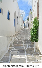 Quiet village street on a greek island in the Cyclades Group