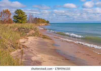 Quiet Waves in the Fall on Lake Huron at Tawas Point State Park in Michigan