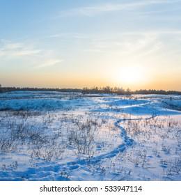 quiet winter sunset landscape