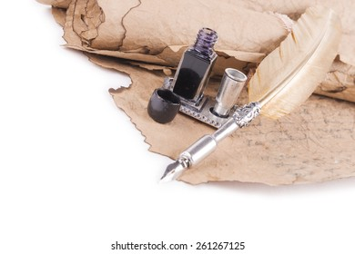 quill ink on a white background