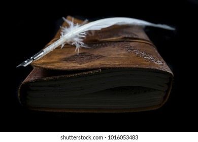 Quill on leather journal