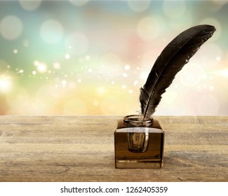 Quill pen with inkwell pen feather old poem quill agreement