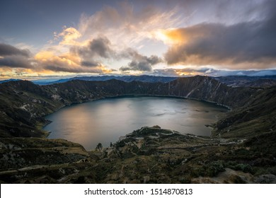 Quilotoa Crater Rim Volcano in Ecuador, end of a 3 day hiking trip