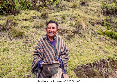 Quilotoa, Ecuador - 27 March 2015:Elder Indigenous Villager Smiling At The Camera, Near Quilotoa Lake, Ecuador, South America