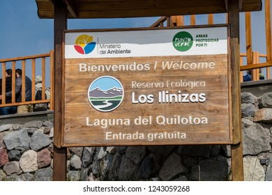 QUILOTOA, ECUADOR - OCT 16,2018 : a government cartel welcomes tourists to the Quilotoa lagoon, which is becoming an important tourist attraction, near Zumbahua, on October 16, 2018.
