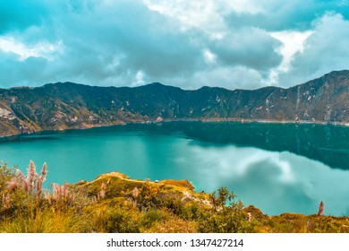 Quilotoa is the western most volcano of the Ecuadorian Andes, within its crater a caldera with a diameter of almost 9 km has been formed.
