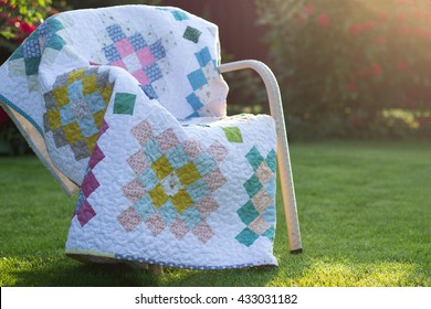 Quilt blanket outdoors in the morning sun