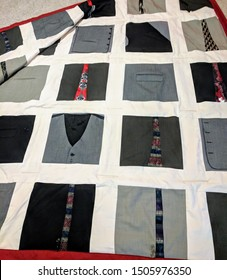 Quilt or comforter made out of men's suits and ties