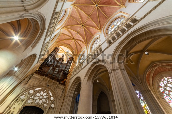 Quimper, Finistere / France - August 11th 2017: interior view and the organ in Cathedral of Saint Corentin in  Quimper