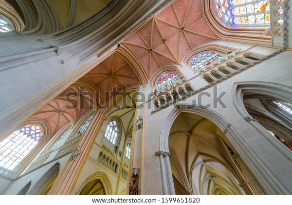 Quimper, Finistere / France - August 11th 2017: interior view of the Cathedral of Saint Corentin and his vaults in Quimper, Brittany